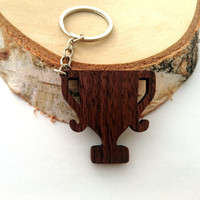 Wooden Trophy Keychain, Winner's Keychain, Gift Keychain, Walnut Wood, Environmental Friendly Green materials