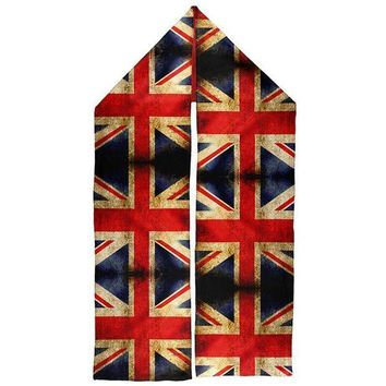 PEAPGQ9 British Flag Union Jack Grunge Distressed Warm Fleece Scarf