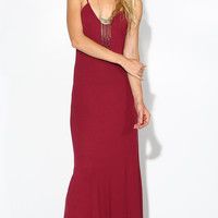 PLUNGING MAROON LOW BACK MAXI DRESS