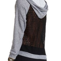 Lace-Back Hooded Sweatshirt by Charlotte Russe - Charcoal Combo