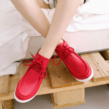 Women Wedges High Heels Lace Up Pu Leather Platform Shoes 9819
