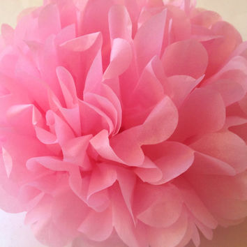 "8"" Tissue Pom Poms Party Decoration Paper Pompom Baby Shower Pompoms Tissue Poms Wedding Decorations Ceremony Decor Pink Tissue paper"