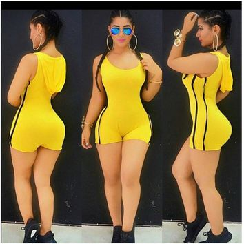 2017 Summer Bandage Jumpsuit Spandex Bodysuit One Piece Swimsuit Leotard Hoody Rompers Sexy Shorts Club Wear Casual Bodycon