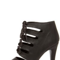 My Delicious Scanda Black Lace-Up High Heel Booties