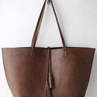 Authority Figure Dark Green and Brown Reversible Tote