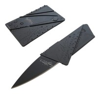 Axepress Credit Card Sized Folding Camping Knife with Black Blade