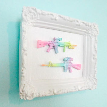 Tiny Pastel Ombre Guns in Ornate Vintage Frame - Neon rainbow home decor - hanging wall art