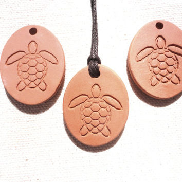 Turtle Aromatherapy Essential Oil Diffuser Pendant, Ceramic Terracotta Earthy Eco-Friendly Jewelry