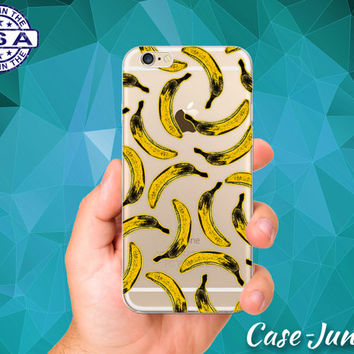 Banana Pattern Fruit Yellow Pop Art Tumblr New iPhone 5 iPhone 5C iPhone 6 iPhone 6 + iPhone 6s iPhone 6s Plus iPhone SE iPhone 7 Clear Case