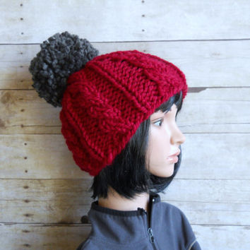 Chunky Knit Beanie with Extra Large Pom Pom, Garnet Red Cable Beanie with Charcoal Grey Pom Pom, Hand Knit Beanie, Red and Gray Winter Hat