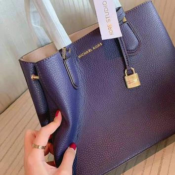 MK MICHAEL KORS High Quality Fashionable Women Shopping Leather Handbag Tote Shoulder Bag Crossbody Satchel Purple
