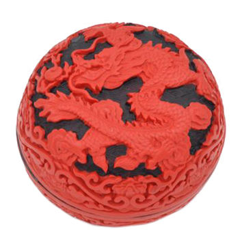 Carved Lacquerware Small Jewelry Box black dragon