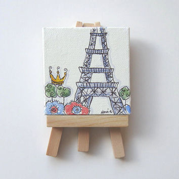 Acrylic painting, Paris Eiffel Tower and a Crown Original  Pen and Ink on Canvas