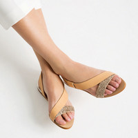 FLAT SPARKLE SANDALS - View all-SHOES-WOMAN | ZARA United Kingdom