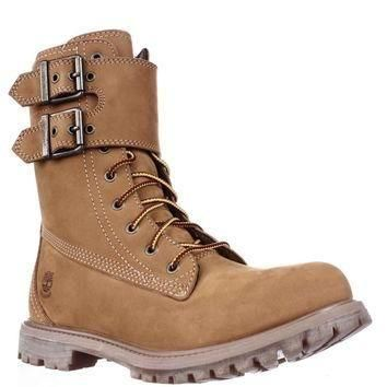Timberland Earthkeepers 8-Inch Double Strap Waterproof Boots, Wheat, 7.5 US / 38.5 EU