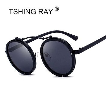 TSHING RAY Fashion Steampunk Round Sunglasses Women Men Punk Style Mirror Sun Glasses Retro Female Male Goggle Eyeglasses