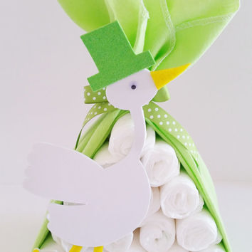 Stork Bundle Baby Shower Gift, Stork Baby Shower Center Piece, Boy Baby Shower Decor, Safari Baby Shower