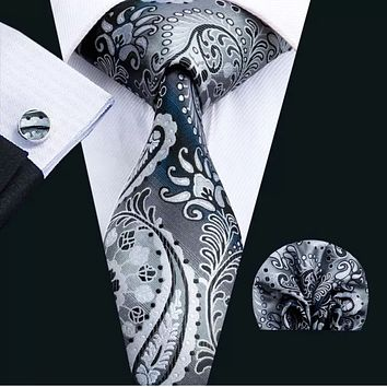 Men's Silk Coordinated Tie Set - Gray Paisley