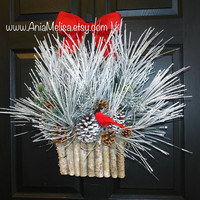 HOLIDAYS wreaths Christmas wreaths winter wreath front door wreaths decor birch bark decorations outdoor wreaths