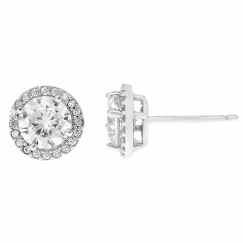 Sterling Silver Round Halo Cubic Zirconium Stud Earrings