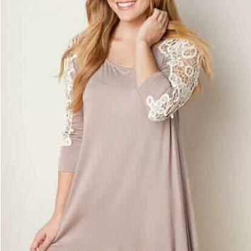 Lace Patchwork Long Sleeve Dress