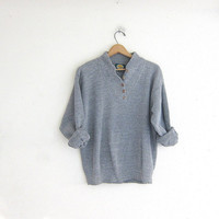 vintage gray sweater. henley knit pullover. button up sweater.
