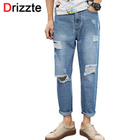 Casual Fashion Ripped Distress Ankle Jeans Men Blue Denim Loose Jeans for Men Boys Jeans Trousers Pants