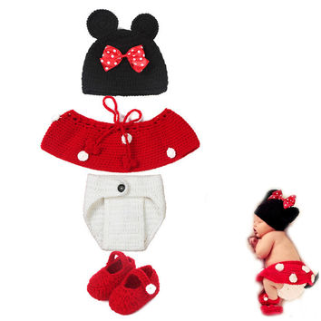 Cute Disney Red Mini Mouse Baby Girl Handmade Crochet Set Photography Costume Prop