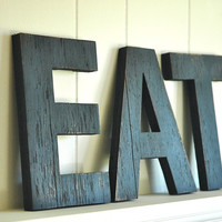 EAT Wall Art Large Letters Handmade Wood Sign Vintage Style Distressed Kitchen Cottage Home Decor - 12 inches tall