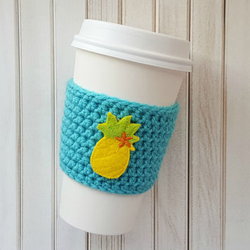 Coffee Cozy - Crochet Coffee Cozy - Pineapple Coffee Cozy - Coffee Cup Sleeve - Coffee Gift Ideas - Coffee Sleeve - Mason Jar Cozy - Cozy