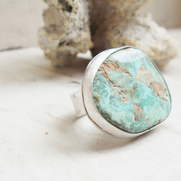 Natural light blue Royston turquoise sterling silver cocktail ring, freeform raw stone, minimalist forged artisan jewelry, size 6