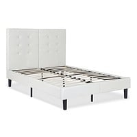 King size Light Gray Off White Faux Leather Upholstered Platform Bed with Headboard