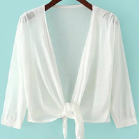 White Half Sleeve Knotted Cropped Knit Cardigan