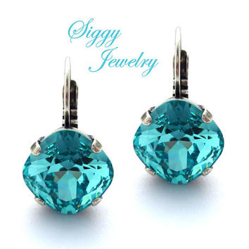 Swarovski Crystal Earrings, Light Turquoise, 8mm-12mm, Round Or Cushion Cut, Studs Or Drops, Assorted Finishes and Styles, Bridesmaids Gift