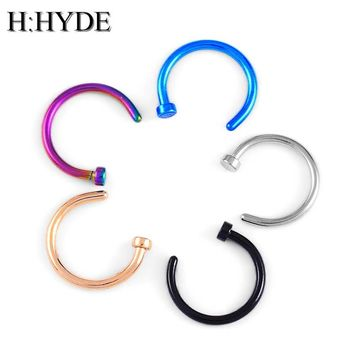 H:HYDE Fashion Fake Septum Medical Titanium Nose Ring Piercing Body Clip Hoop For Women Girls Septum Clip Hoop Jewelry