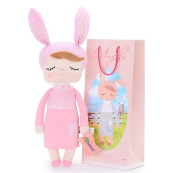 Plush Rabbit New Angela pink Dolls Wearing Dress Metoo Stuffed Bunny Dolls Gifts for Kids Girls 45*16cm