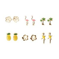 Multi Tropical Stud Earrings - 6 Pack by Charlotte Russe