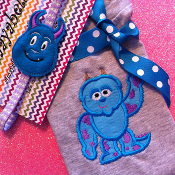 Sully monsters inc inspired appliqué Onesuit or tee and headband set perfect for gift