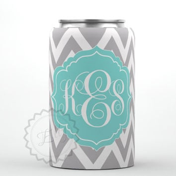 Personalized Can Koozie - Stylish Gray chevron and Tiffany blue monogram, custom can coozie huggie, monogrammed can cooler