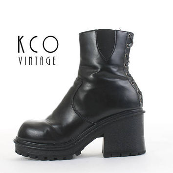 Platform Boots 11 Black Vegan Leather Corseted Chunky Boots Black Ankle Boots 90s Goth Vintage Shoes Women's Size US 11 / UK 9 / EUR 41 - 42