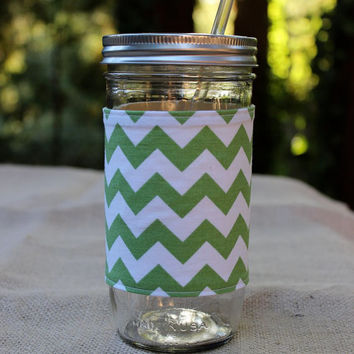 24 oz. Mason Jar Tumbler with Green Chevron Insulated Sleeve and BPA Free Reusable Straw
