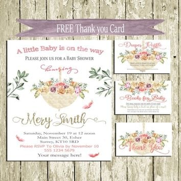 Baby Shower Invitation printable Floral umbrella Baby Shower Invitation Pink and gold Lace Roses Baby Shower invite Set Free Thank You card
