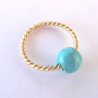 Septum Ring Twisted 14K Gold Filled Nose Ring,Daith piercing ring,cartilage,helix,tragus,ear hoop earring 18 Gauge,Turquoise Gemstone Bead