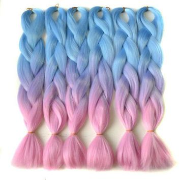 PEAP78W Chorliss 24'(65cm) L.blueTlilacTpink  Synthetic Hair Extensions Crochet Braids Straight Jumbo Ombre Braiding Hair 100g/pack