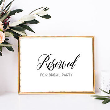 Reserved for bridal party sign, Reserved table sign, Bridal shower printable signs, Bridal shower decorations, Bachelorette party sign decor