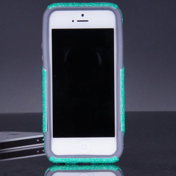 Otterbox iPhone 5 5S Case - Custom Wintermint Glitter iPhone 5 5S Otterbox Case - Sparkly Bling Otterbox Cover
