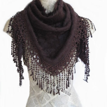 ANGORA Brown Scarf Or Shawl With Fringed Lace, For Woman, Wedding, Winter Trends