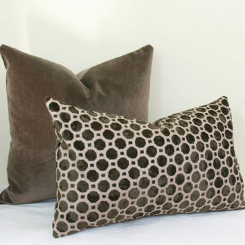 Mocha Brown Velvet Decorative Throw Pillow Cover 18 X 20