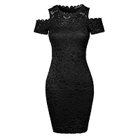 LE3NO Womens Fitted Floral Lace Cold Shoulder Bodycon Mini Dress