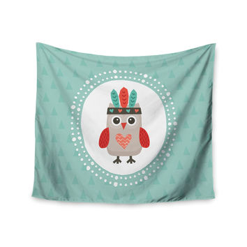 "Daisy Beatrice ""Hipster Owlet Mint Coral"" Teal Wall Tapestry"